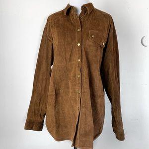 L Ralph Lauren 100% Leather Suede Button Down Jack